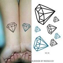 HC1019 Black And Blue Diamond Harajuku Waterproof Fake Tattoo Men And Women Lovers Fashion Temporary Tattoo Stickers