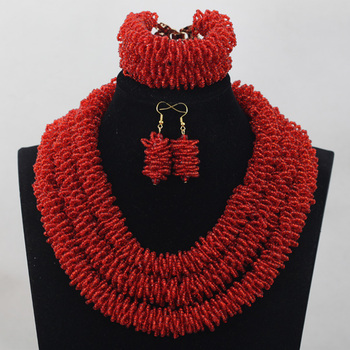 Wine Burgundy African Inspired Bridal Beads Necklace Earrings For Wedding Ceremony Party Holidays Jewelry Free Shipping WD857