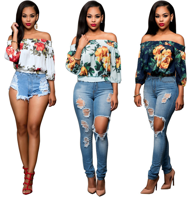 2017 New Arrival Hot Sexy Slash Neck Women half sleeve Top Summer Style Sexy Womens Print strapless Tops T-shirt
