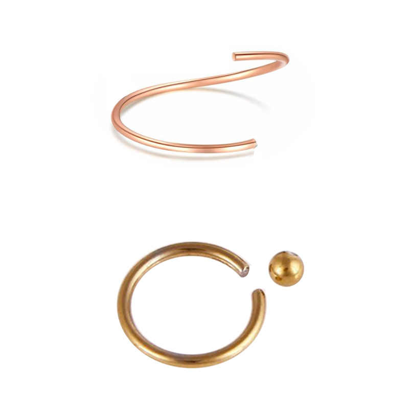1 Piece Fake Septum Ring 0.8*8mm Rose gold Fake Nose Ring Silver Black Fake Septum Body Piercing Bejour Jewelry