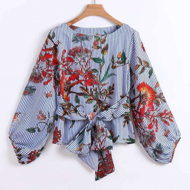 ISHOWTIENDA Floral Print Blouse Fashion Shirts Women ' s Tops Belted Mixed Striped Long Sleeve Blouse Ladies Clothing Haut Femme
