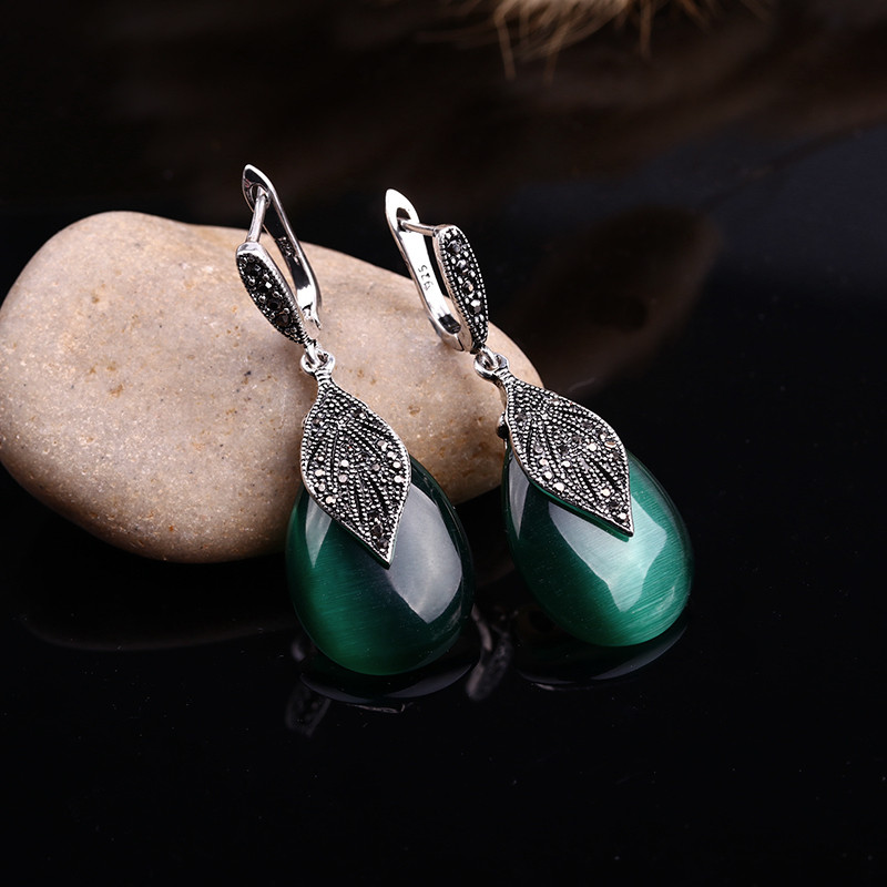 HTB1c0t3OVXXXXcHapXXq6xXFXXX4 - Feelgood Jewellery Set Vintage Silver Color Fashion Water Drop Green Natural Stone Opal Jewelry Sets For Women Party Gift