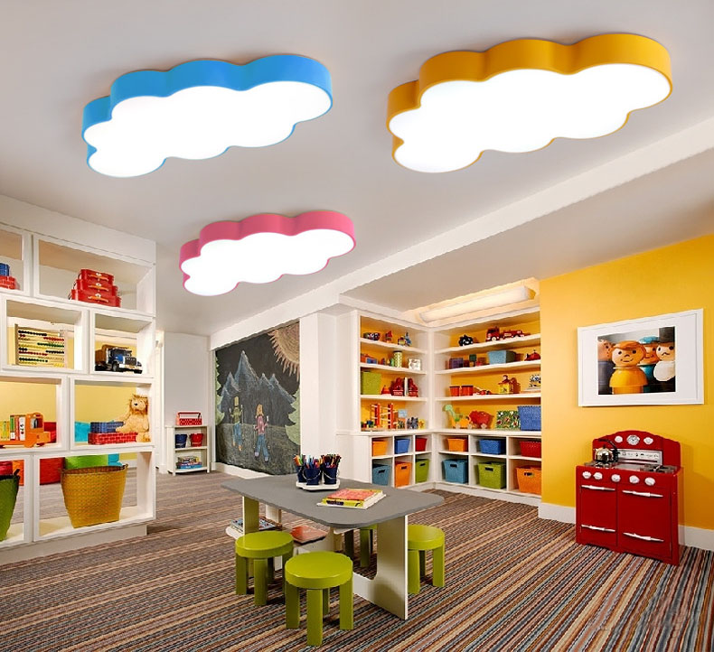 Cartoon Creative Fairytale Lovely Clouds Design 3 Colors Iron Acrylic Led Ceiling Light for Kids Children's Room Bedroom rainbow sun clouds led kids room ceiling light cartoon bedroom light creative cute men girl room light smiling face lu721174