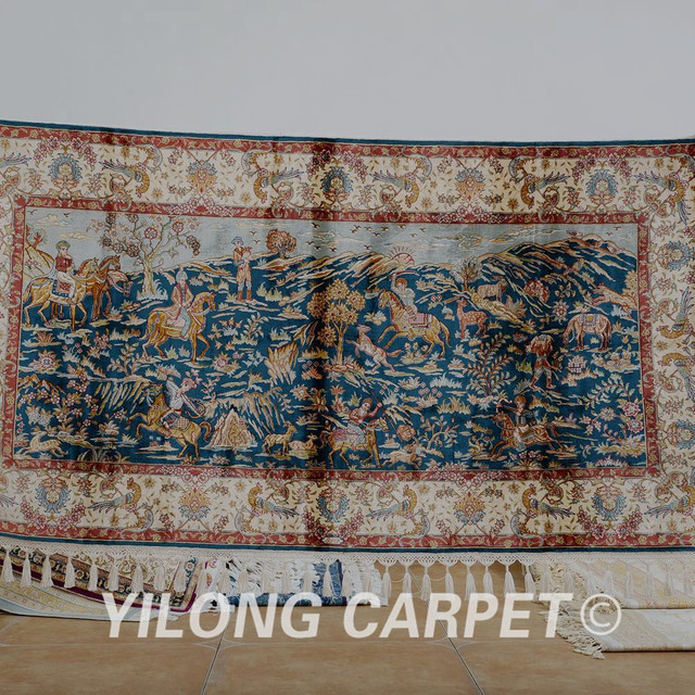 Yilong 27x51 Persian Silk Carpet Tree Of Life Design Exquisite