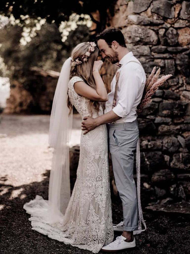Image 5 - Robe De Mariage Wedding Dresses Boho 2019 Lace Chic Bohemian Wedding Dress Bridal Gowns Vestidos De Novia-in Wedding Dresses from Weddings & Events