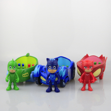 3pcs 3.5 doll with 6-7 inch car Characters Catboy Gekko Cloak Action Figure freddy Toys Boy Gift Plastic Mask brinquedos