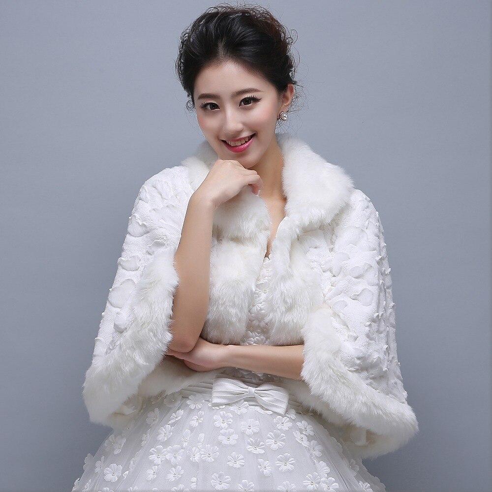 new arrival faux fur 2016 hot wedding bridal dress jacket bolero accessories shawl warm winter coat