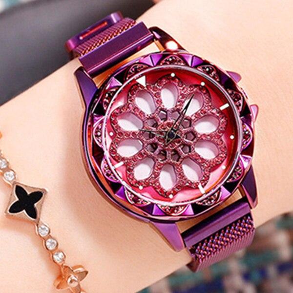 Feminino Relogio femmes montre élégante montre-bracelet à Quartz fleur cadran mobile luxe robe Reloje cristal Mujer métal acier horloge