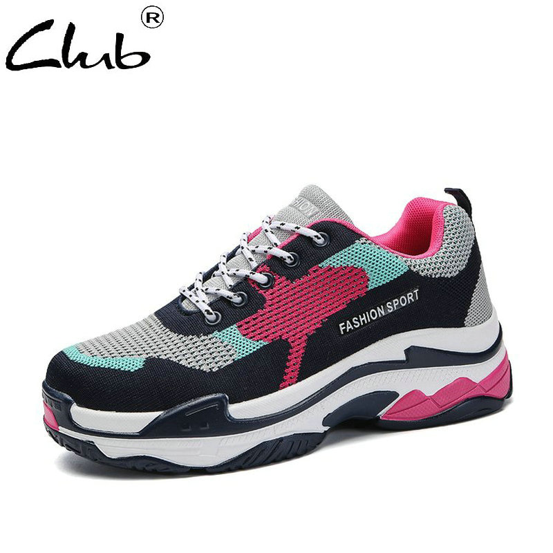 Club Women Sneakers 2018 New Fashion Breathable Shoes Women Lace Up Women Flat Shoes Mixed Colors Casual Shoes Zapatos Mujer