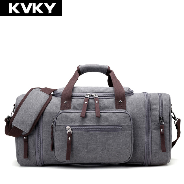 f345872f380 KVKY Brand Travel Bags Men s Large Capacity Handbag Luggage Travel Duffle  Bags Canvas Weekend Bags Multifunctional Business Bags