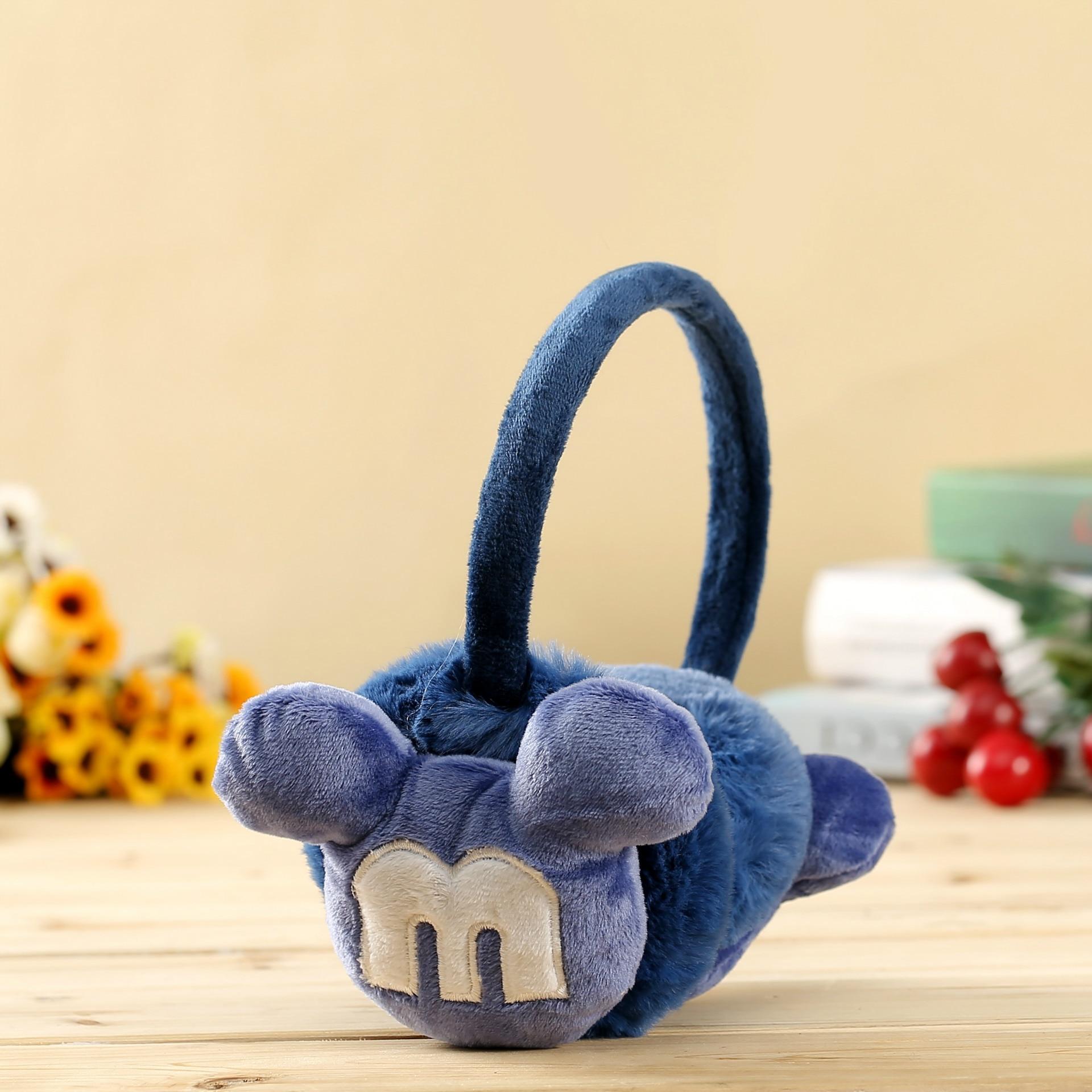 New Design Winter Earmuffs For Women Girls Boys Cute Mouse Earmuffs Warmers Winter Comfortable Warm Winter Earmuffs E009-blue
