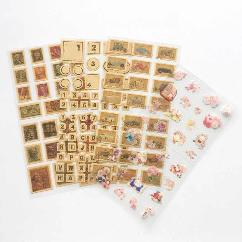 1 Sheet Vintange Stamp Number Sakura Adhesive Stickers DIY Decorative Sealing Paste Stick Label School Office Supply