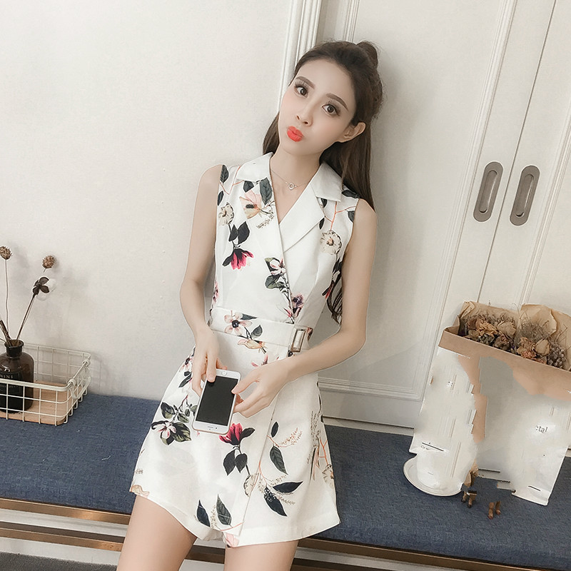 Summer Womens Floral Print Playsuit Casual Notched Sleeveless Rompers Work Wear Short Jumpsuit Mujer