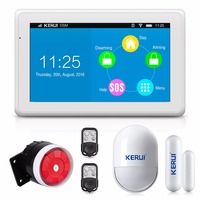 KERUI New Product High end 7 Inch Color Display Touch Screen WiFi GPRS GSM Multiple Pattern Burglar Home Security Alarm System