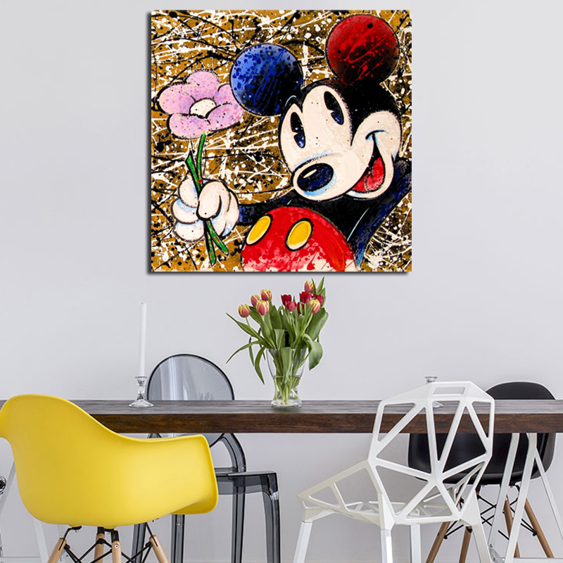 Image 2 - Mickey Mouse Graffiti Minimalist Wall Art Canvas Poster And Print Canvas Painting Oil Decorative Picture For Bedroom Home Decor-in Painting & Calligraphy from Home & Garden