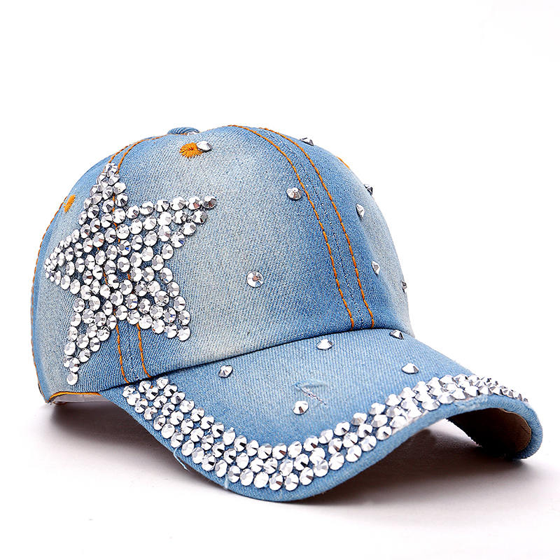 TUNICA latest design rhinestone crystal star star snapback hats for women  new wholesale denim jeans female brand baseball cap 2231f9c18854