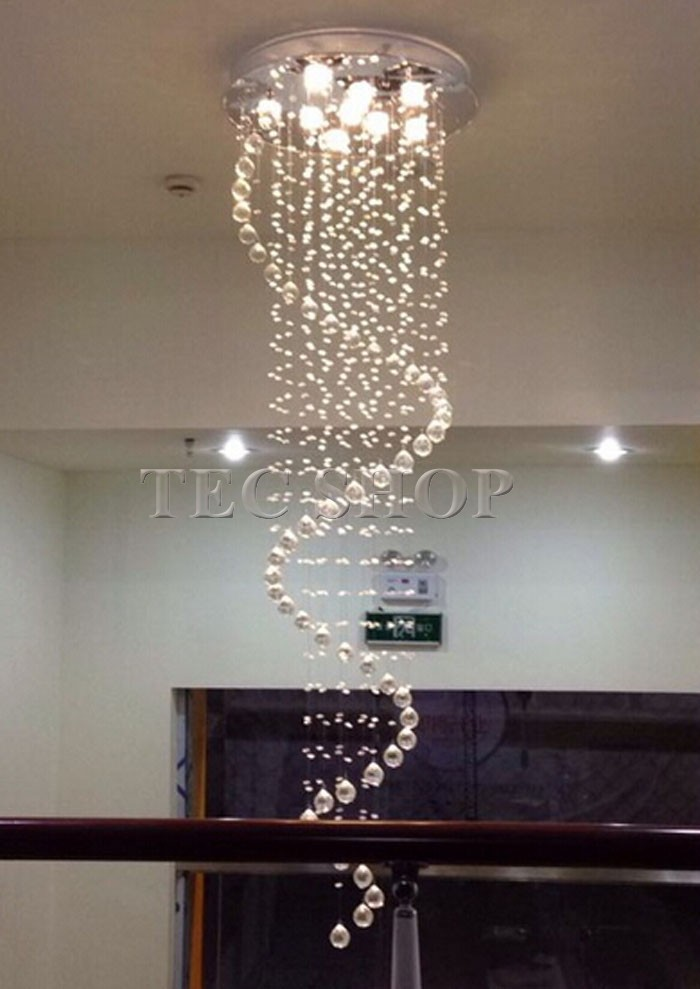 Jh Duplex Stairs K9 Crystal Chandelier Single Spiral Lamp Living Room Res De Cristal Lighting In Pendant Lights From