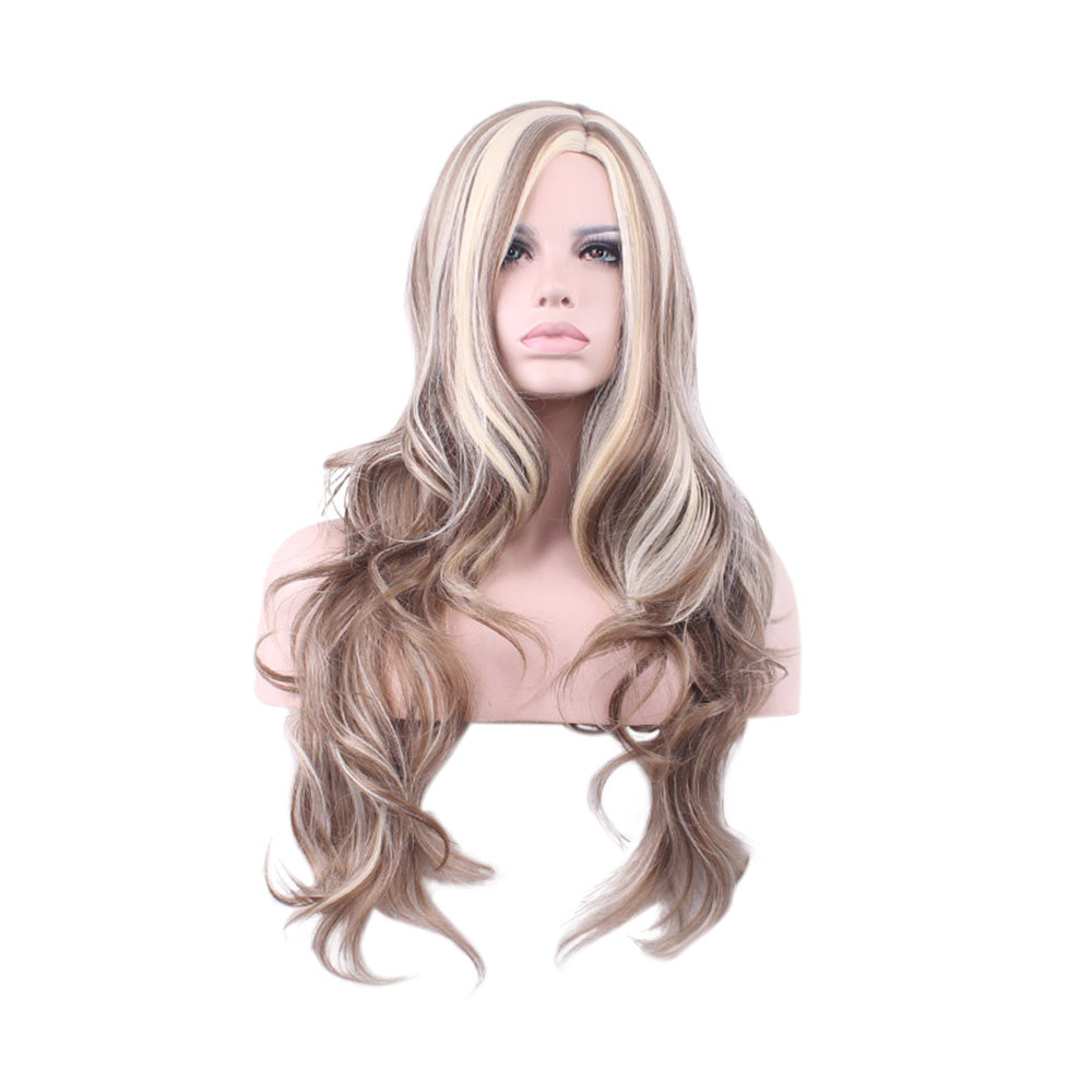 Europe And America Gold Color Woman Girl Natural Party Wig Long Full Lace Curly Hair Fashion Synthetic Wig Gift Dropshipping