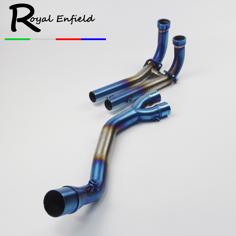 TMAX 500 530 Connector Front Link Pipe Slip On For T-MAX530 Tmax500 Stainless Titanium Exhaust Muffler Escape Header Pipe Blue fmf factory 4 1 rct slip on exhaust with titanium mid pipe titanium