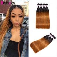 Bestsojoy Hair 1/3/4Pcs Ombre Brazilian Straight Hair Bundles Weave Human Hair Extensions 1B/30 Brown Virgin Ombre Hair Bundles