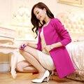 2017 весенняя мода средней длины талии грудью сплошной цвет Женщин Lady Двойной Брестед Длинный Жакет Шарф Пальто И Пиджаки