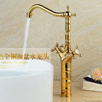 Free shipping Hot sale Bamboo style antique basin faucet,brass brushed waterfall faucet for bathroom,bathroom sink water taps