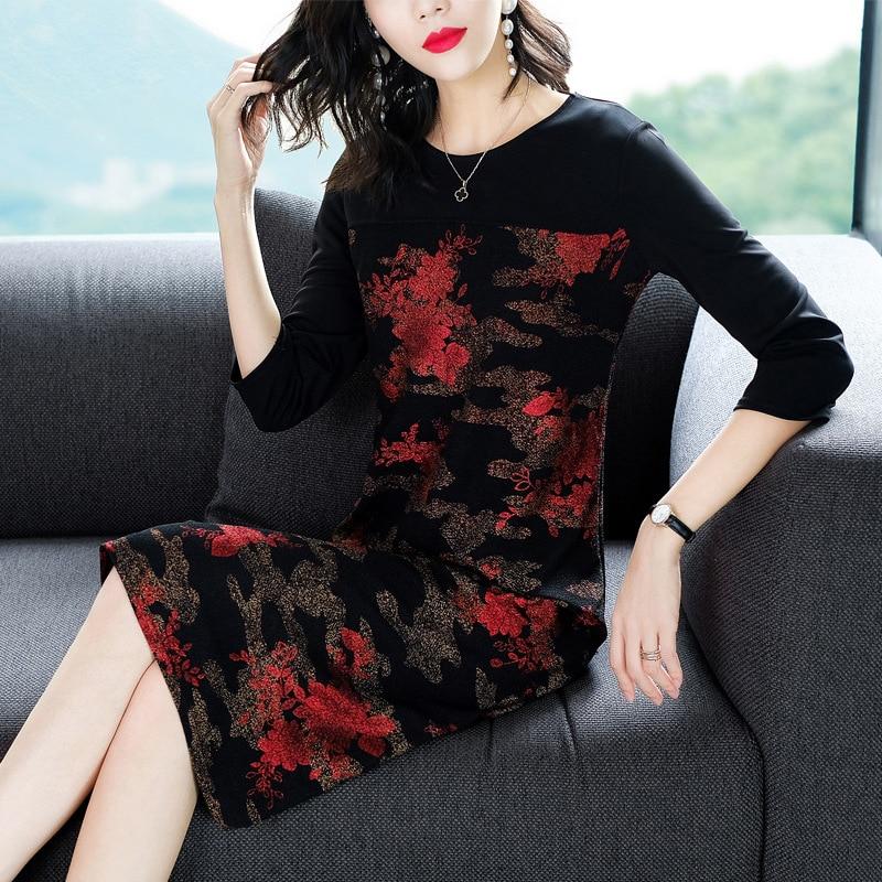 Black  women plus size big robe party dresses 2018 autumn elegant vintage print floral runway retro clothing H25-0815