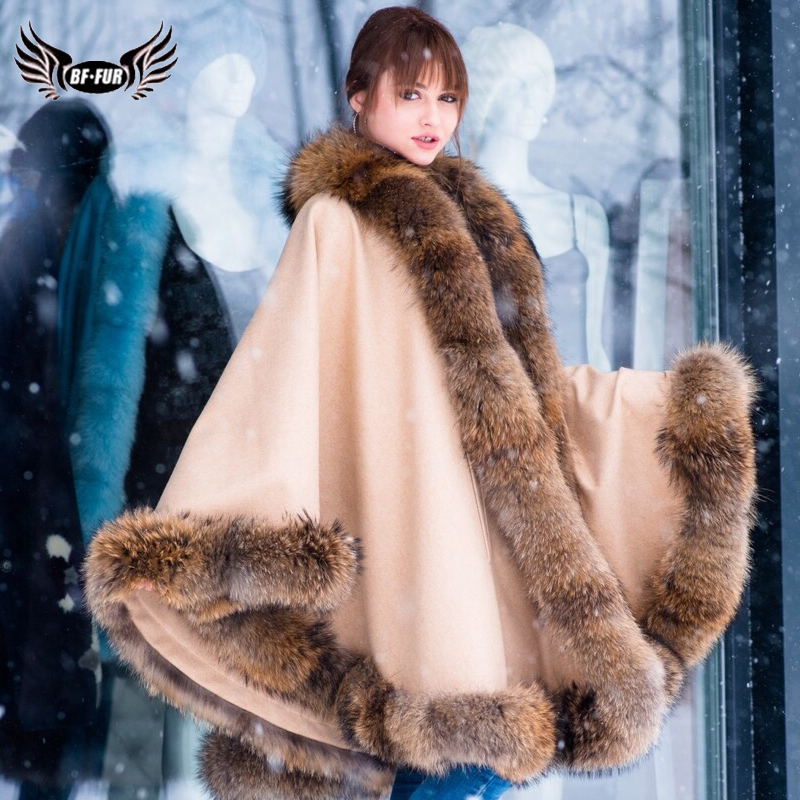 2019 BFFUR Real Raccoon Fur Trim Woolen Blends Cape Elegant Women's Big Cape Luxurious Coat Female Winter Fashion Slim Shawl