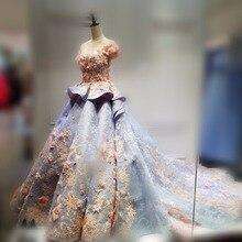 Robe de soiree A-linie U-ausschnitt Kurzarm Spitze Blume Appliques Luxus Abendkleider Eigentliche Bild Partei Abschlussball-kleider