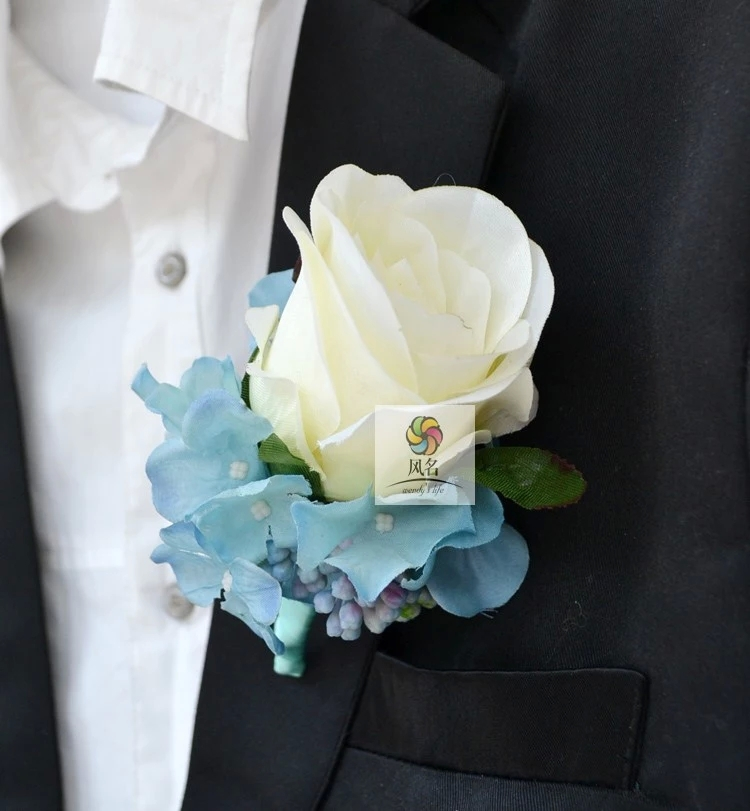 4 pcs/ lot DIY calla lilies Corsage flowers White Rose Grooms groomsman suit men Boutonniere pin brooch Wedding party decor C3