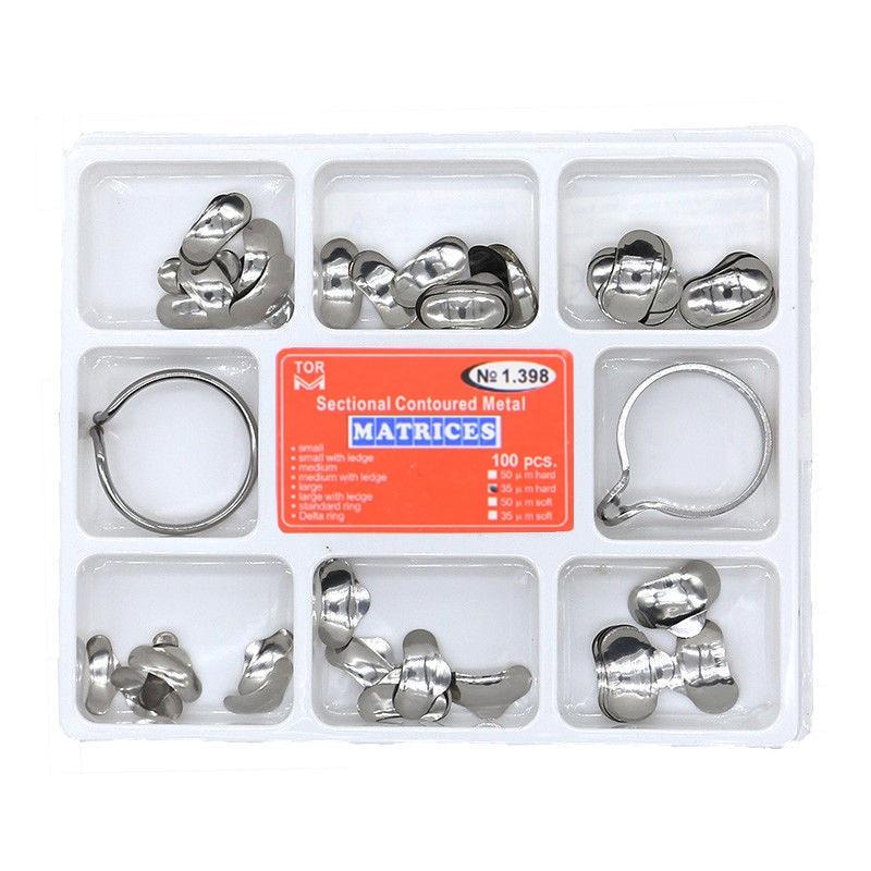 100pcs Dental Matrix  No.1.398 Sectional Contoured Metal Matrices + 2 Rings Full Kit For Teeth Replacement Dentsit Tools