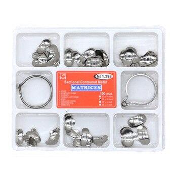100pcs Dental Matrix  No.1.398 Sectional Contoured Metal Matrices + 2 Rings Full kit for Teeth Replacement Dentsit Tools цена 2017