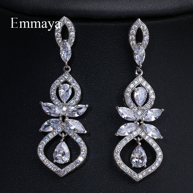 EMMAYA  Three Colors Silver Gold Cubic Zirco Dangle Earrings For Women Popular Party Colorful Earrings Jewelry