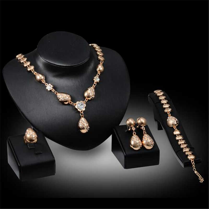 Luxus Gold Schmuck Sets Kristall Wasser Tropfen Anhänger Halskette Halsband Ohrringe Ring Armbänder Für Weibliche Partei Schmuck-Set