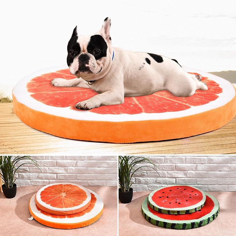 Nuovo 2018 Hot Dog Mat Carino Cuccia Casa Calda Anguria Arancione Modellazione cane Letto Divano Mat Cuccia del Gatto per I Cani di Frutta Letto M L