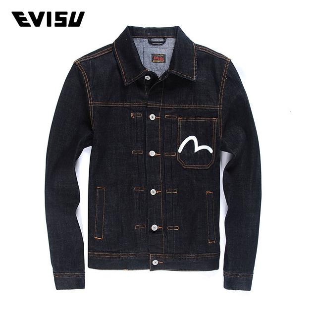 1e22aed10db4 Evisu 2018 Genuine Autumn Winter Men s Coat Simple Denim Classic Jacket Men  Casual Retro Turn Collar Jackets Free Shipping YF907