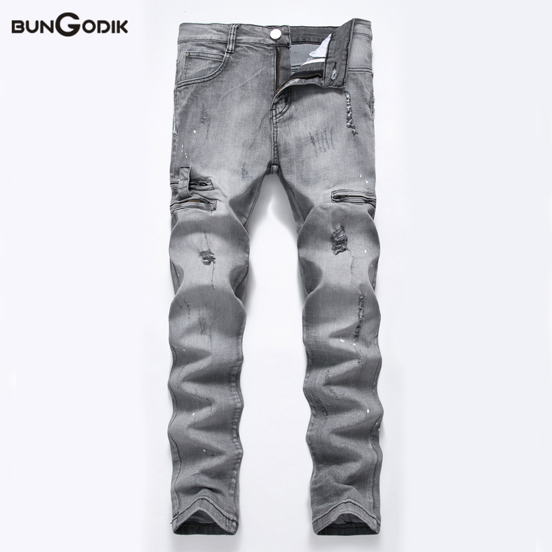 Bungodik Men Jeans Washed Light Gray Moto Elastic Denim Pants Ripped Rider Biker Jeans Retro Motorcycle Hip Hop Slim Fit Rasgado