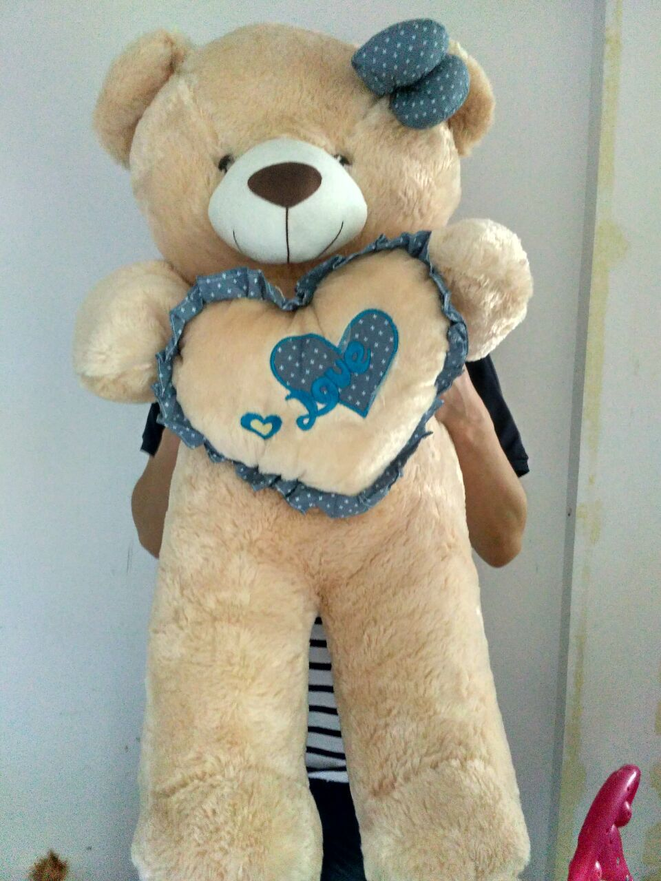 huge lovely plush teddy bear toy with blue heart and bow creative bear doll gift about 120cm the lovely lying teddy bear doll red stripe cloth plush bear toy gift toy about 120cm