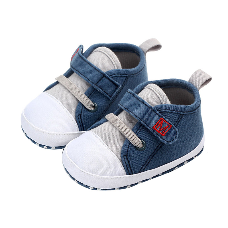 Canvas Baby Boy Shoes Cotton Solid Newborn First Walkers Soft Soled Non-slip Footwear Baby Shoes0-12M