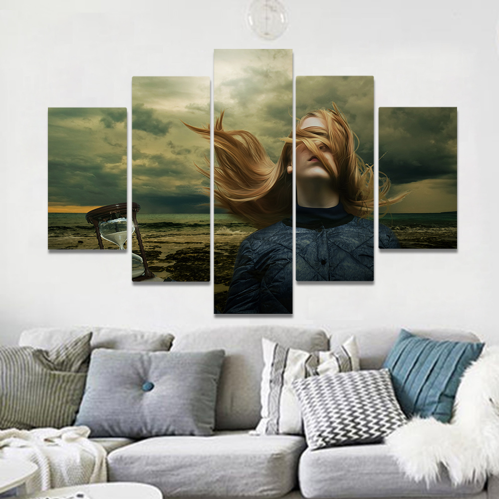 Unframed Canvas Art Painting The Dim Sky Blonde Girl Sand Leak Picture Prints Wall Picture For Living Room Wall Art Decoration