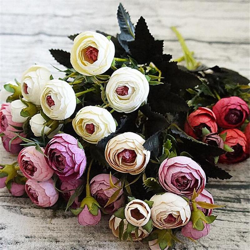 6 ramas pequeñas flores de seda falsas flores artificiales flores artificiales camelia Peony estambres para la decoración del hogar barato Flor