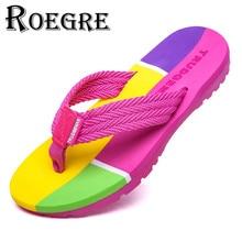 ROEGRE Women's Summer Beach Flip Flops 2017 Girl's Casual Pink Outdoor Sandals Comfortable Anti-Slip Slippers Plus Size 36-41