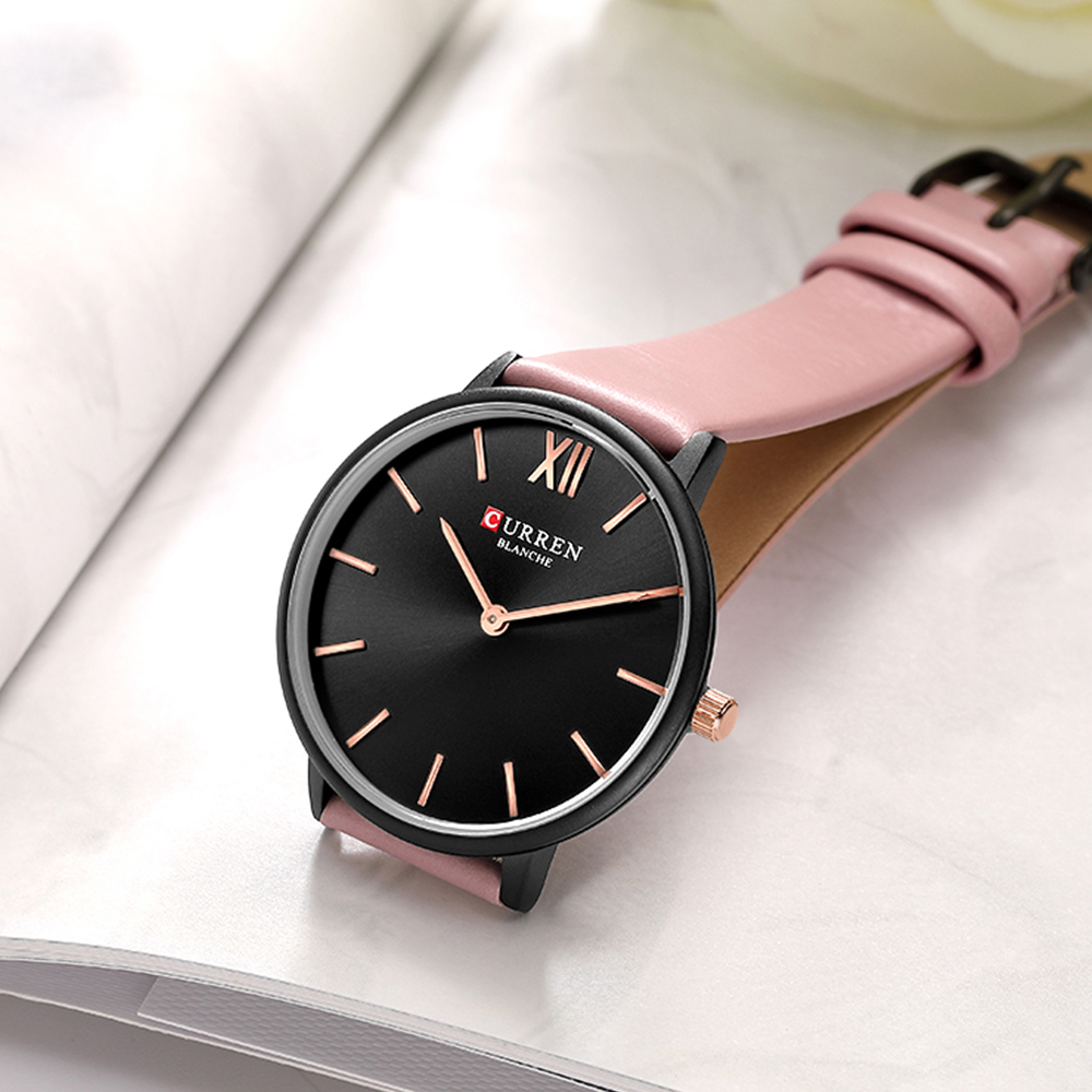 CURREN Women Watches Pink Analog Quartz Clock Female Casual Ladies Wrist Watch Soft Leather Strap Watch relogios feminino