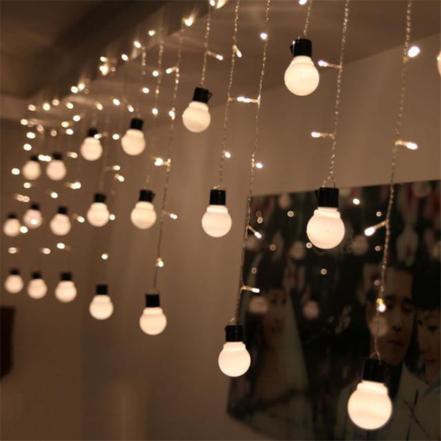 De vacaciones 5 CM Tamaño Grande 220 V 1.5 M 48 Led 10 Bolas LED Cortina de Luz LED de Navidad de La Boda Luces de la Secuencia de hadas de Navidad Decoración