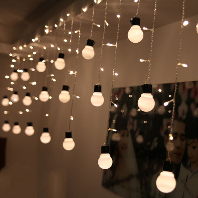 Holiday 5CM Big Size 220V 1.5M 48Leds 10Balls LED Curtain Light LED Wedding Party Xmas Fairy String Lights Christmas Decoration