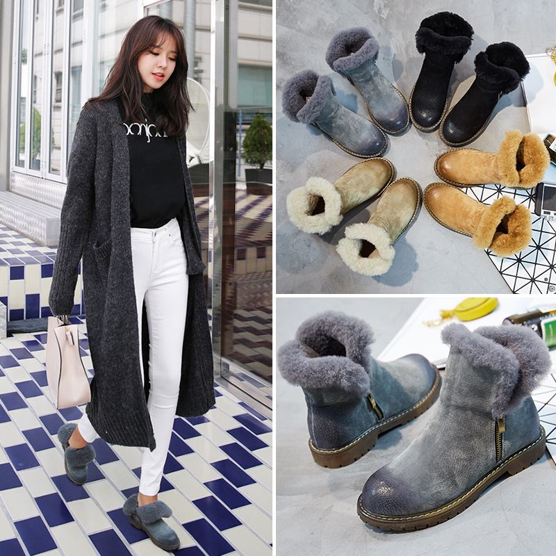 2017 Women Snow Boots New Genuine Leather Warm Winter Short Boots Plush Fur Shoes Woman Retro Casual Zip Ankle Boots for Women 2017 new women snow boots winter fox fur boots suede leisure shoes thick warm short boots plush girls fashion boots black brown