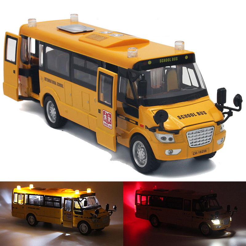 1:32 Scale Big Size America School Bus 23CM Diecast Metal Car Pull Back Autos a Escala Boys Collection Flashing Model Cars Toys