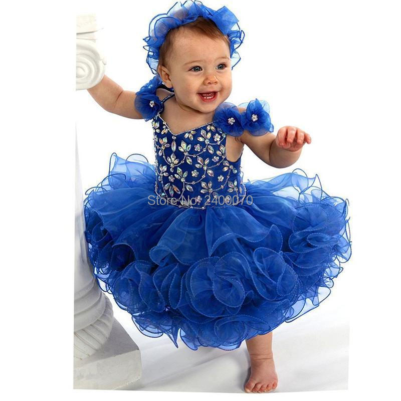 bd9d8d051eec Cute Baby Pageant Dresses Ball Gowns 2017 Royal Blue Tiers Organza with  Flowers Kids Cupcake Gowns Toddler Dresses with Stones-in Flower Girl  Dresses from ...