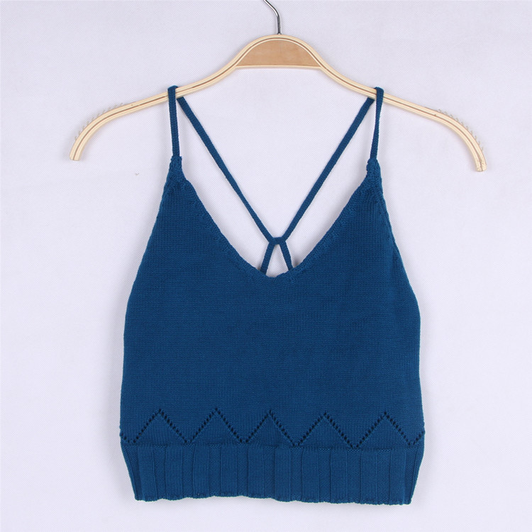 Sweet Baby Back Cross Knit Camisoles Tops Cute Blue Toddle Tops INS Hot Girls Summer Tee For 1-5Y Free Shipping