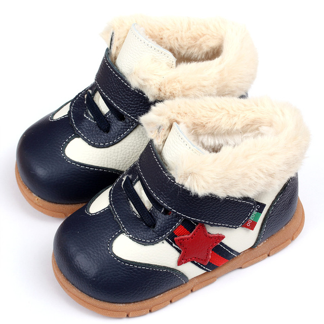 2015 Mantener Caliente Del Muchacho Del Bebé de Nieve Botas De Bebé De Cuero Suave zapatos de Bebé Botas de Invierno Para La Muchacha Infantil Kids Primeros Caminante zapatos